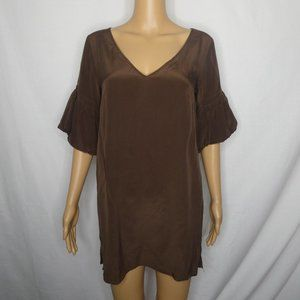 Geren Ford Silk Puff Sleeve V Neck Tunic Blouse Sm